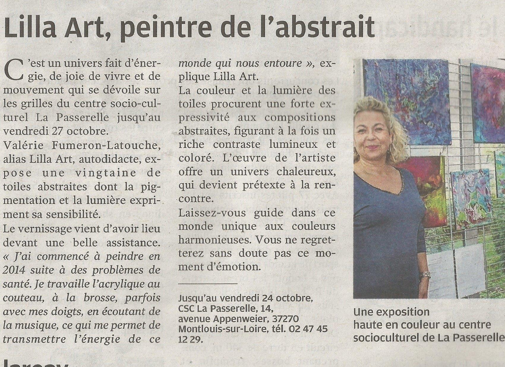 EXPOSITION Lilla Art à MONTLOUIS SUR LOIRE
