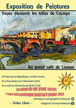 Mon expo  personnelle  de peintures au Grand Café  à Limoux (Aude)