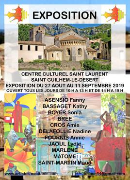 Exposition de  l'A.C.O au Centre Culturel Saint Laurent à Saint Guilhem le Désert