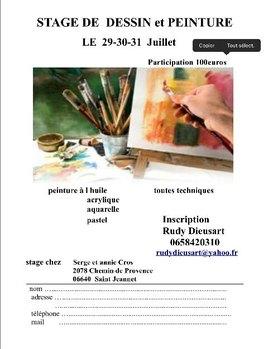 Stage de peinture de 3 jours à St Jeannet (06)