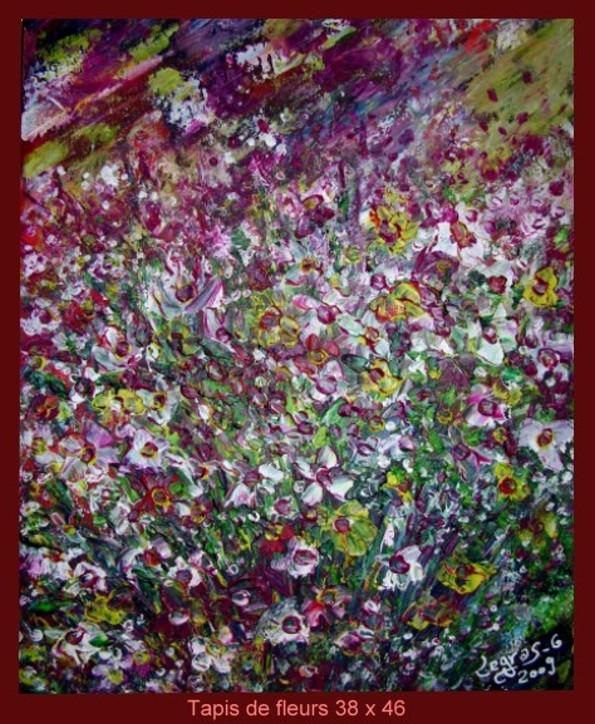peinture tapis de fleurs
