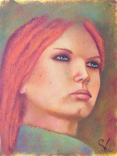 Peinture jeune fille aux yeux bleus - Fille yeux bleu ...