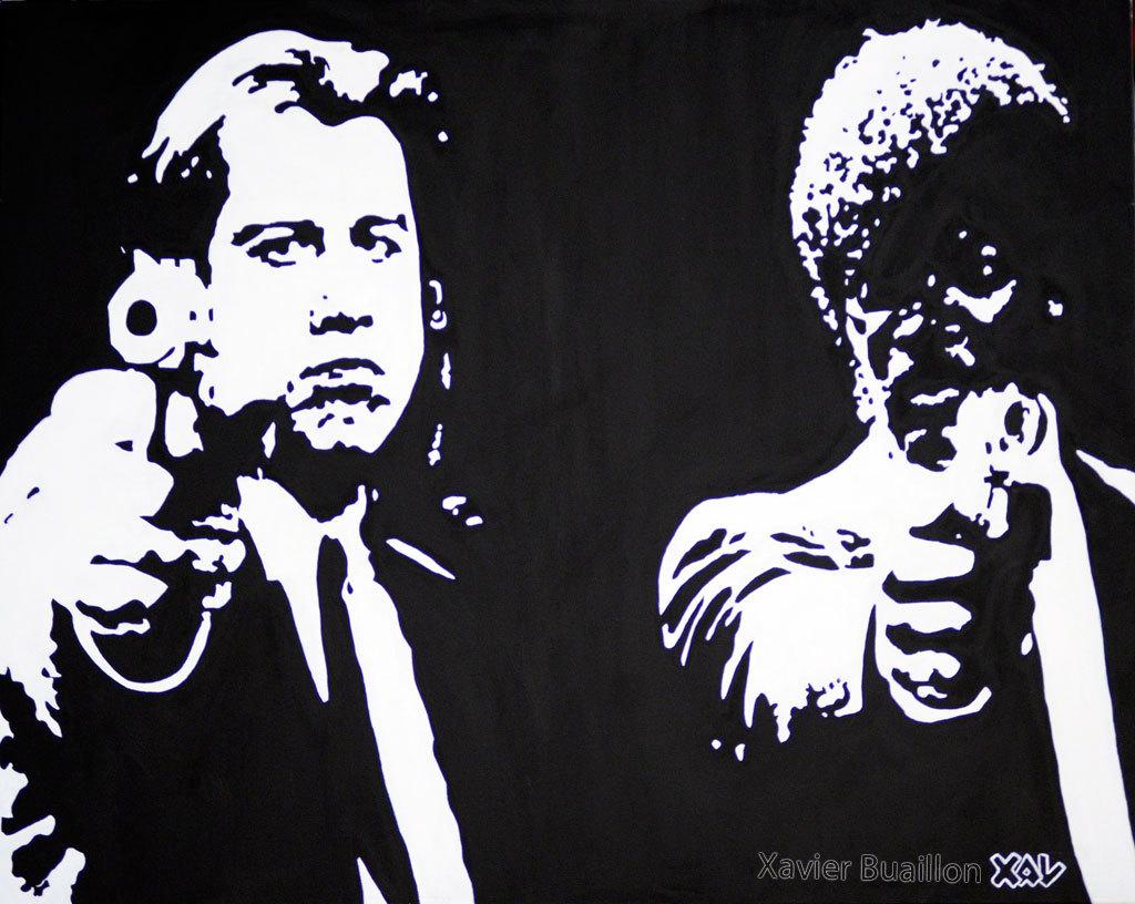 Pulp fiction Travolta et Samuel Jackson par Xavier Buaillon
