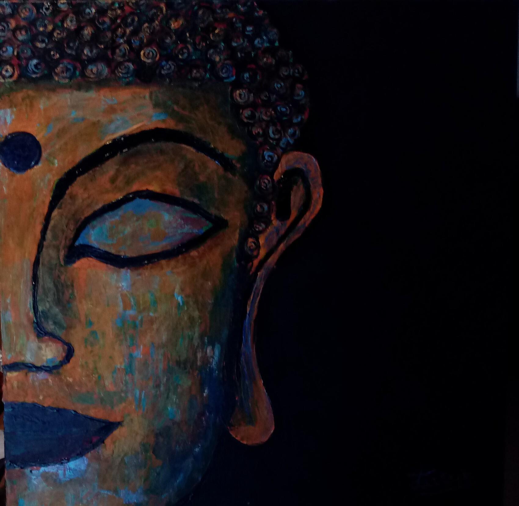 Bouddha 2 - peinture au couteau  50 cm x 50 cm