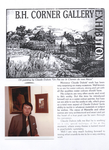 my first exhibition in london in 1984 the press of london