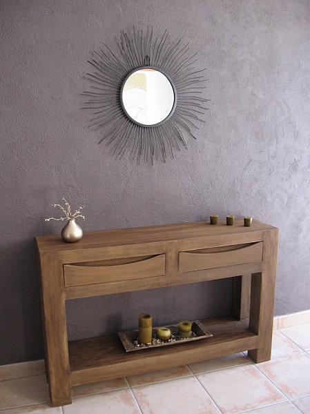 Table console imitation bois