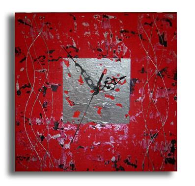 peinture tableau horloge carr e moderne rouge noir gris salon chiaradeco. Black Bedroom Furniture Sets. Home Design Ideas