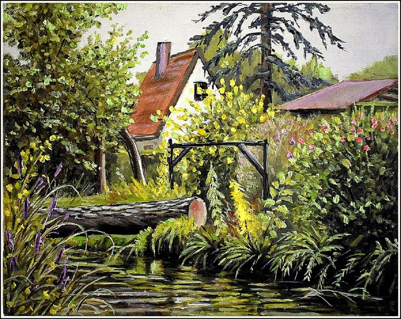 Maison et jardin au bord de la rivière