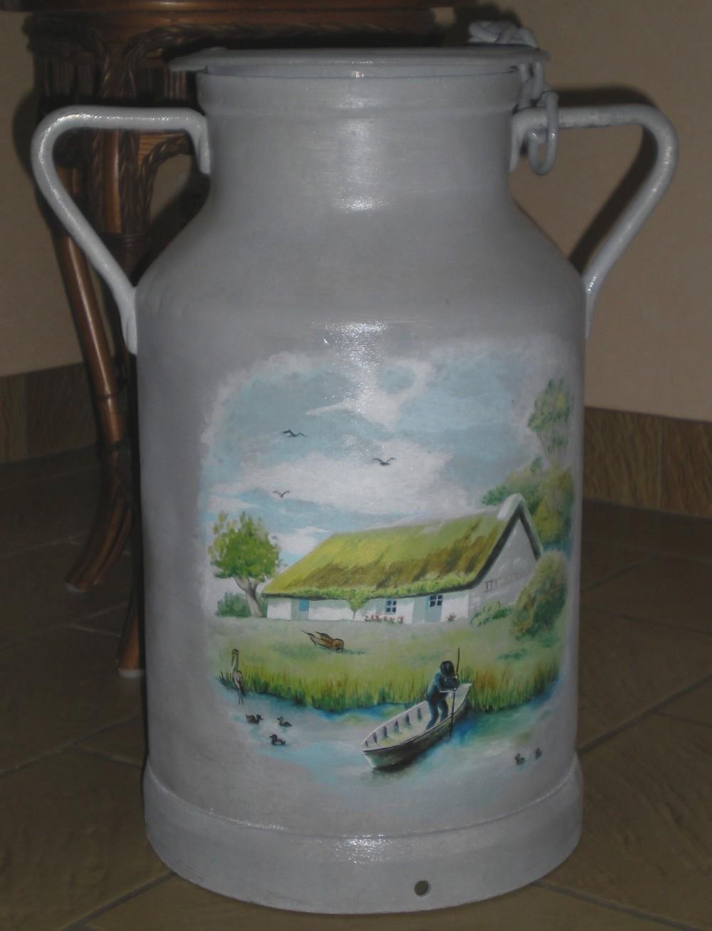 Peinture sur un bidon de lait for Peinture de lait