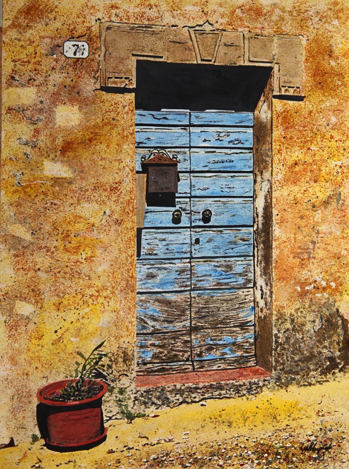 peinture la porte bleu