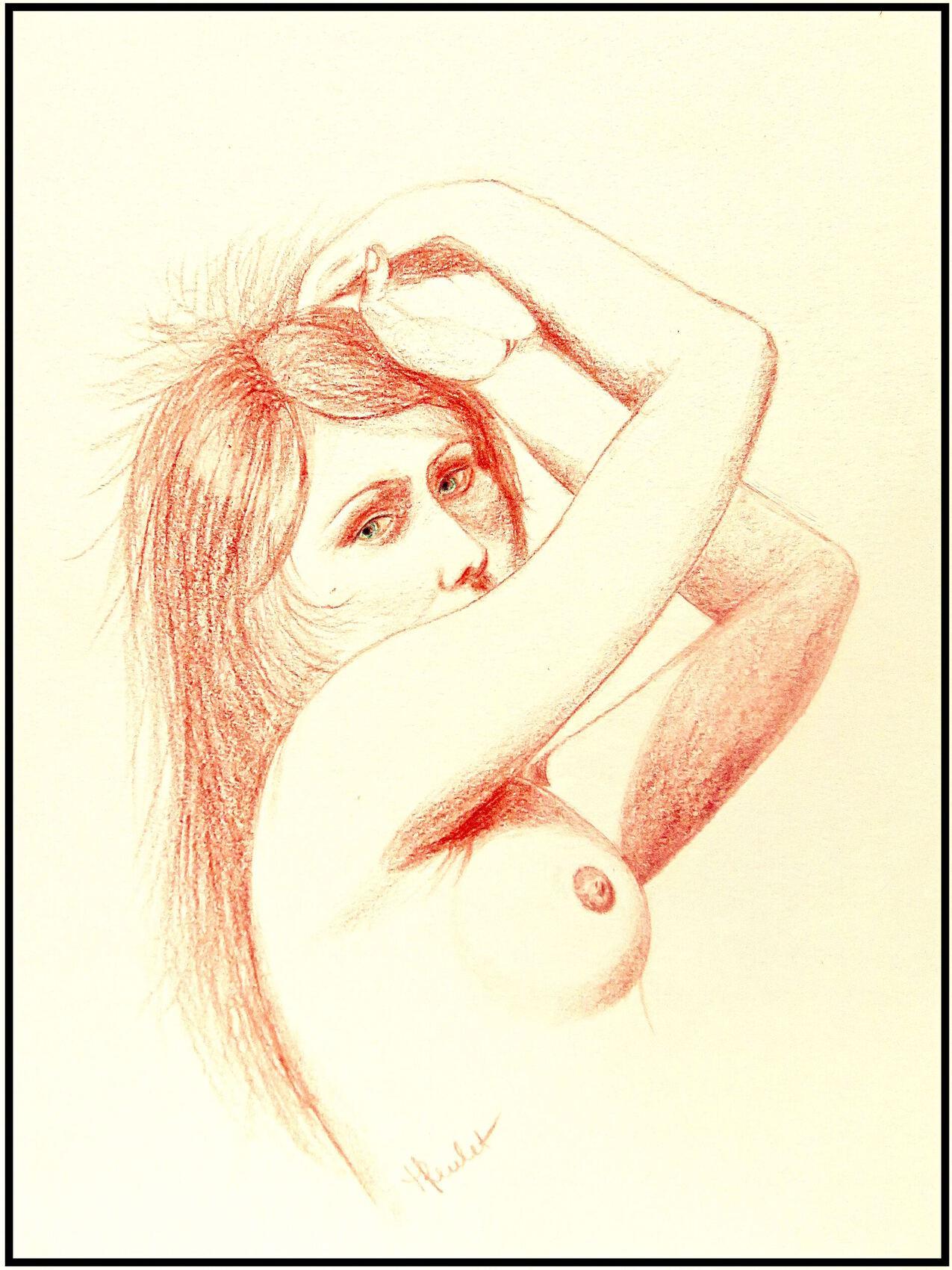 Femme allongée nue s'éveillant / Drawing Woman lying naked waking up