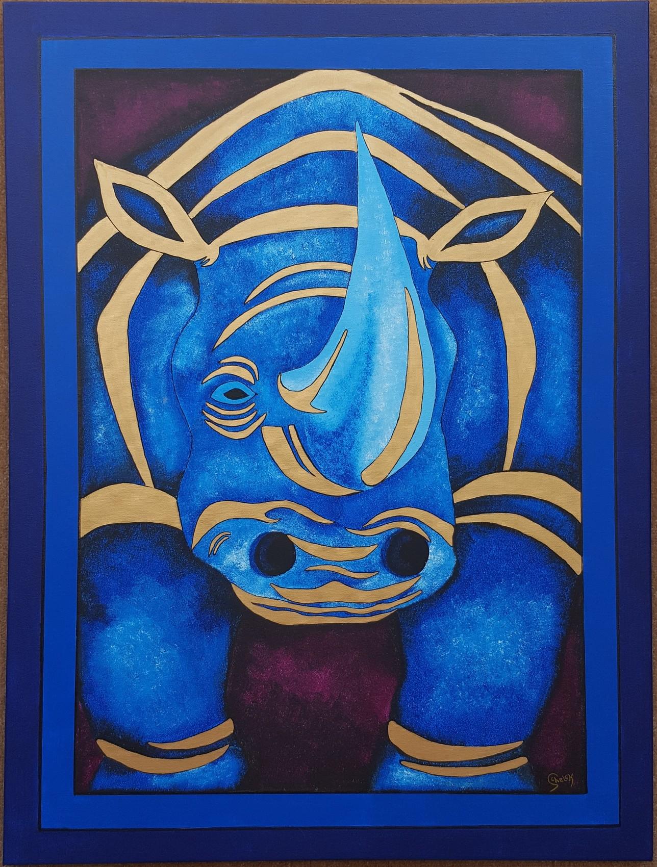 Peinture rhinocéros bleu