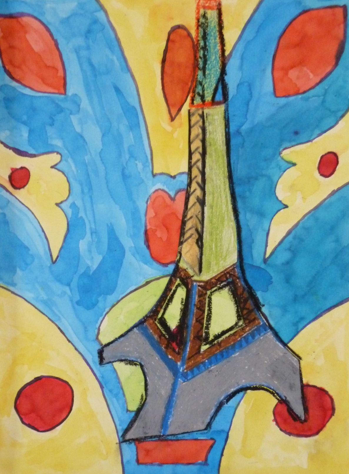 Peinture tour eiffel for A l interieur de la tour eiffel