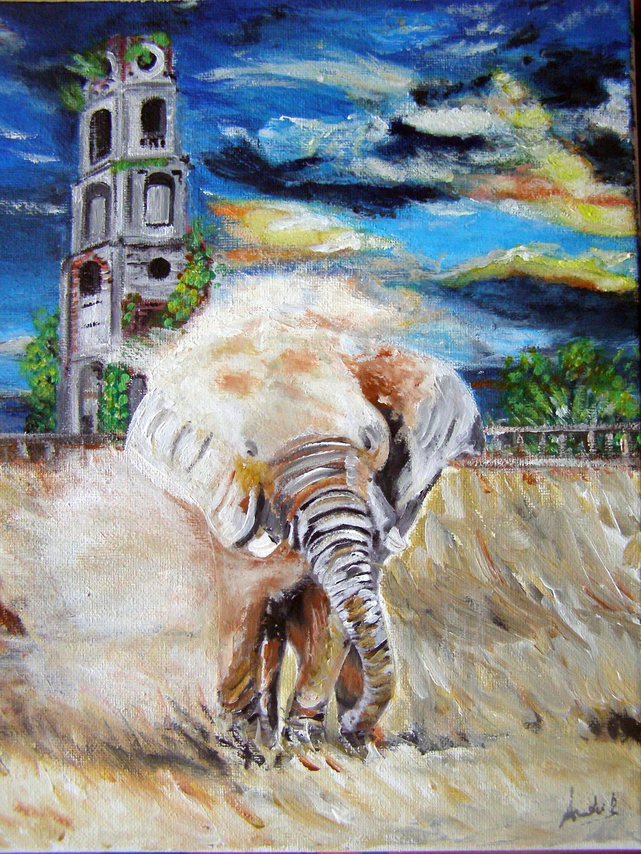 Eléphant en fuite