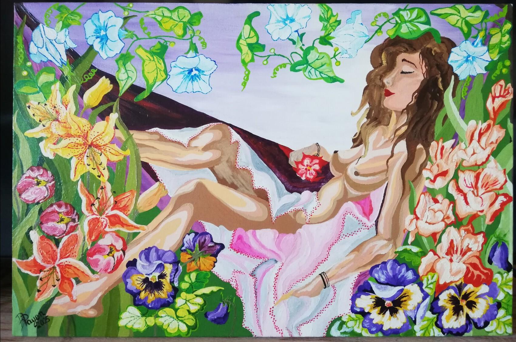 la femme et ses fleurs
