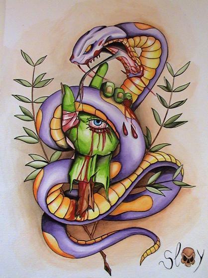 Peinture snake slay - Dessin new school ...