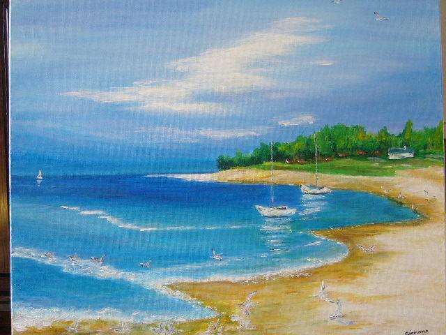 Peinture mer calme for Peindre sur de la peinture