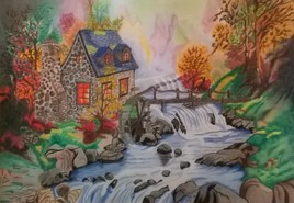 """ paysage avec moulin"""