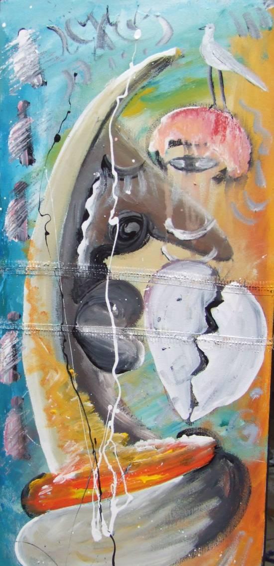 tableau d'art africain : L'envoyé