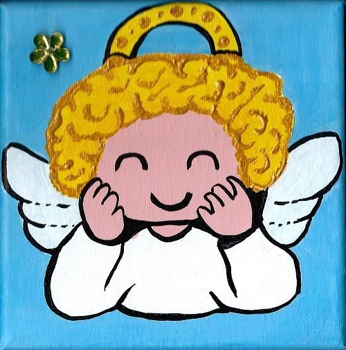 Petit ange blond à la fleur jaune