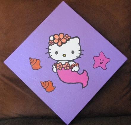 Peinture sirene hawaienne hello kitty - Hello kitty sirene ...