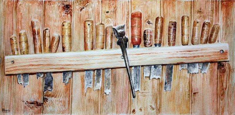 Peinture outils de tourneur - Ratelier outils de jardin ...