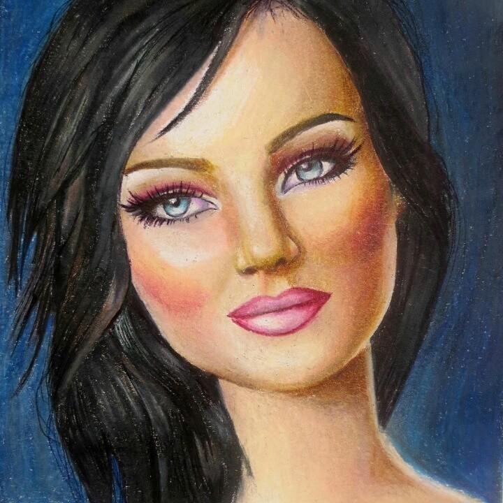 Brune Aux Yeux Bleus peinture femme fantaisique elle est brune aux yeux bleus