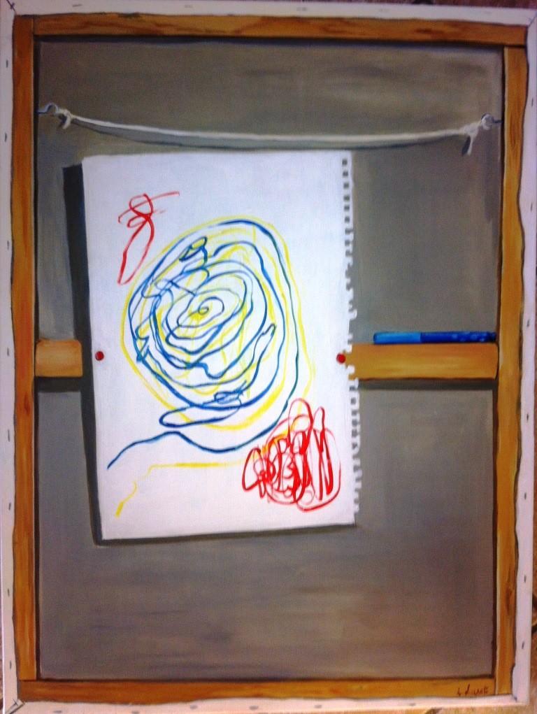 Peinture Trompe L Oeil Tableau peinture l'oeuvre est au dos du tableau -trompe l'oeil