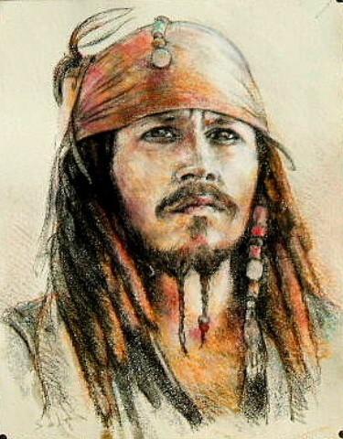 Dessin portrait de johnny depp pirate des cara bes - Dessin pirate des caraibes ...