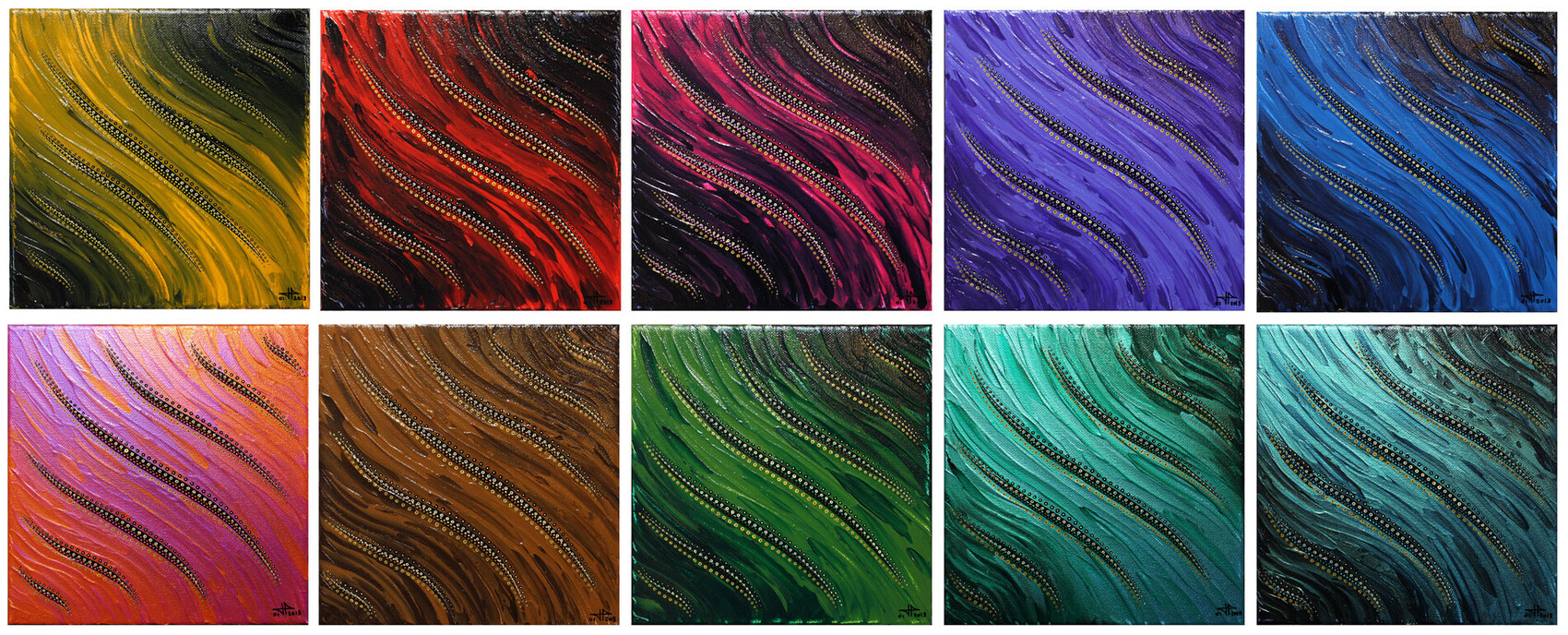 Série de tableaux : Fluides colorés.