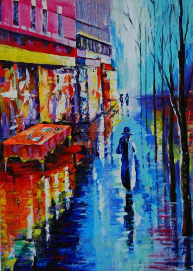 peinture dans la ville apr u00e8s la pluie  r u00e9sum u00e9