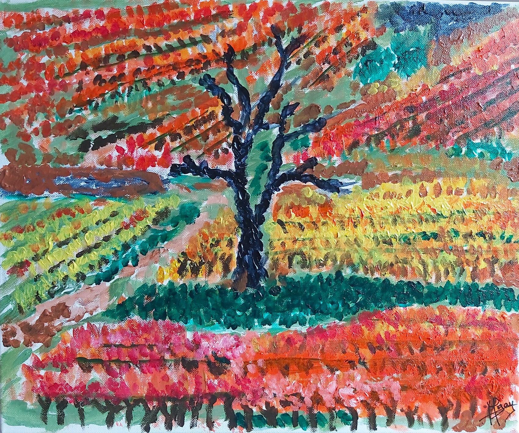 Climat bourguignon en automne , acrylique sur toile