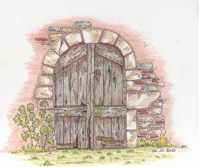 Dessin vieille porte de grange for Porte grange