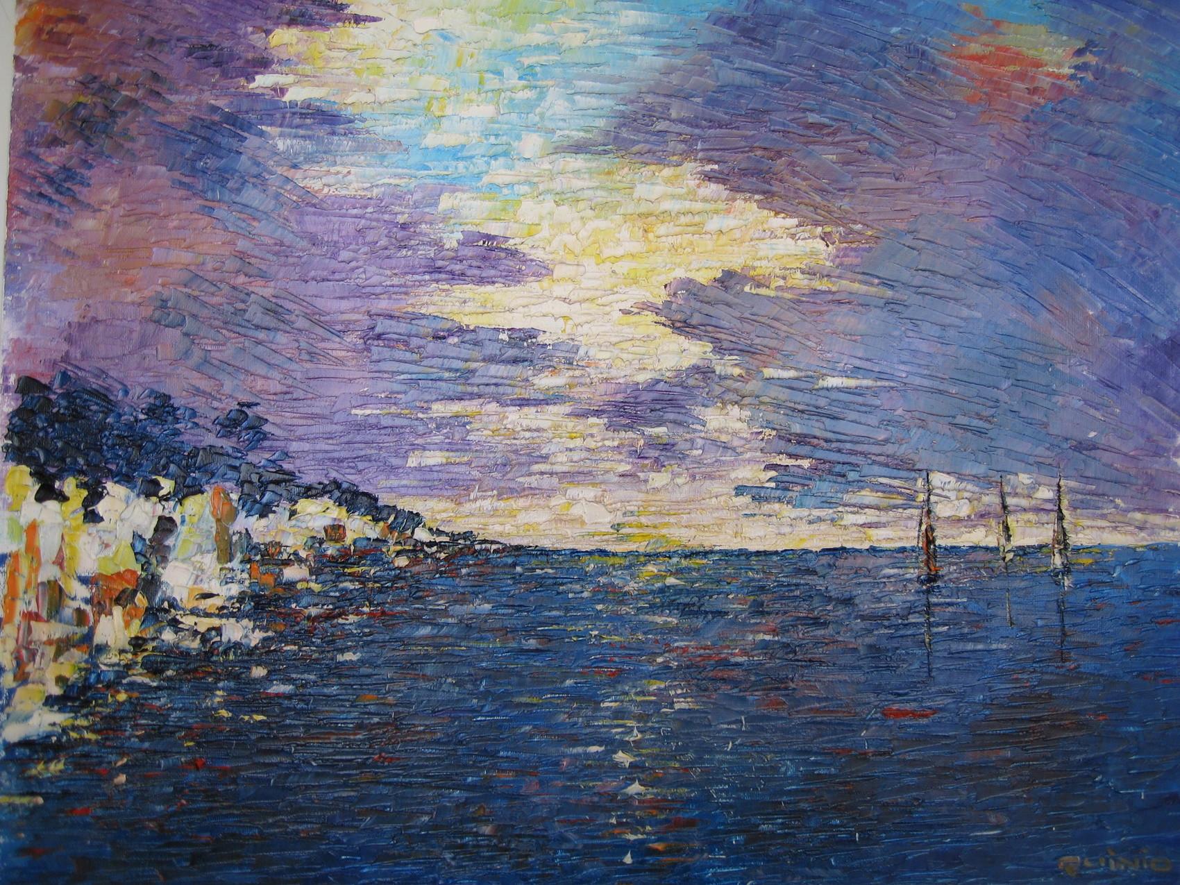 Soleil et nuages en mer