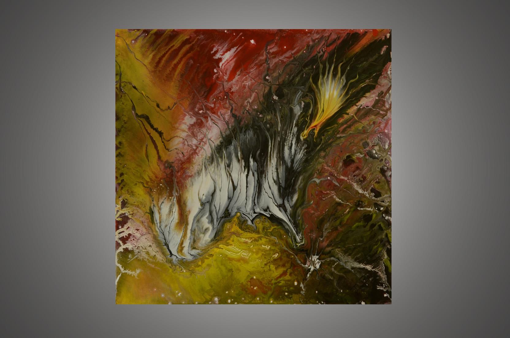 Peinture tableau abstrait la peinture acrylique fluide style art d co envolade for Photo de tableau abstrait