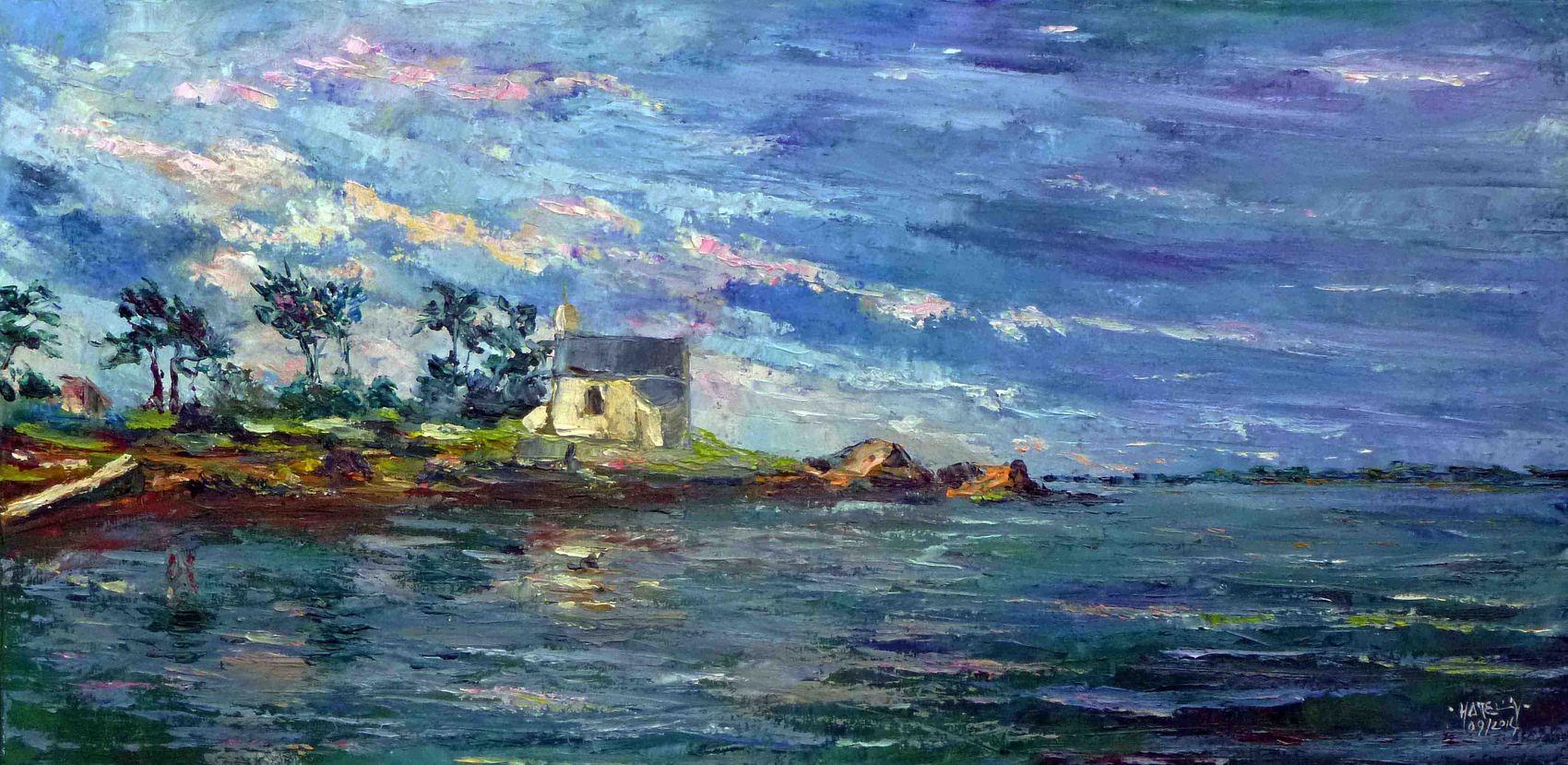 Peinture Golfe du Morbihan : île de Boedic