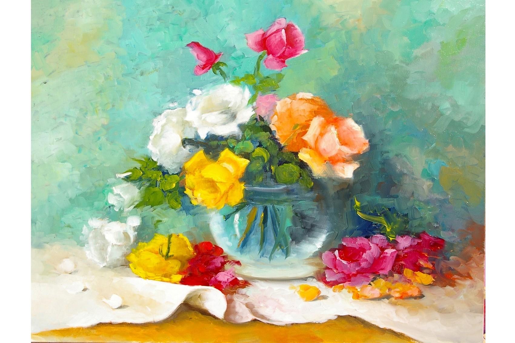 Peinture jardin fleuri