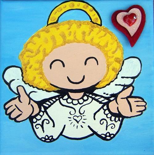 Petit ange au cœur rouge