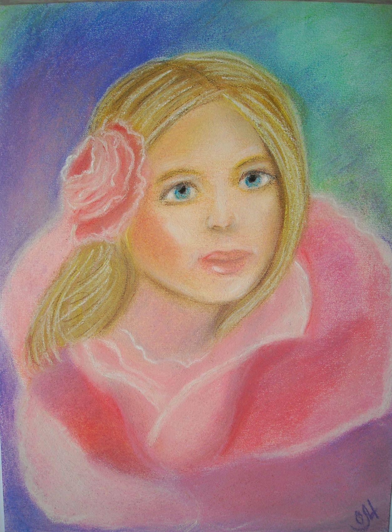 dessin dessin au pastel sec rose tendresse portrait f minin romantique. Black Bedroom Furniture Sets. Home Design Ideas