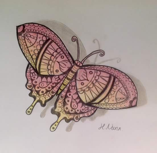 Dessin papillon style mandalas