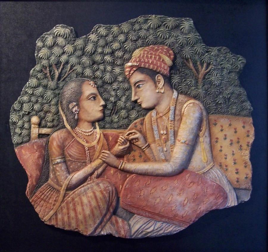 Pareja hindú. med: 73x68x3 cm.