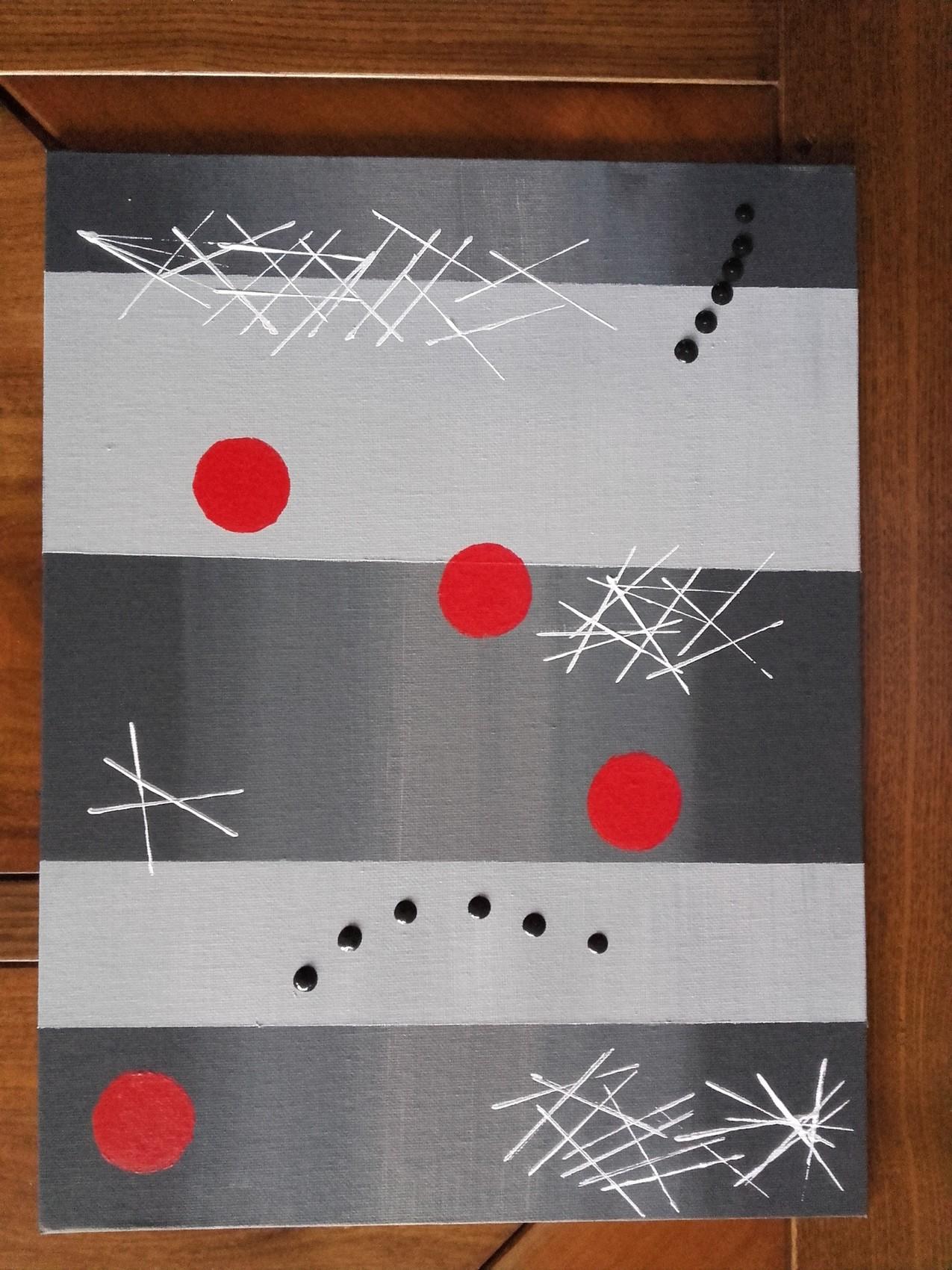 Peinture Abstrait gris rouge blanc noir