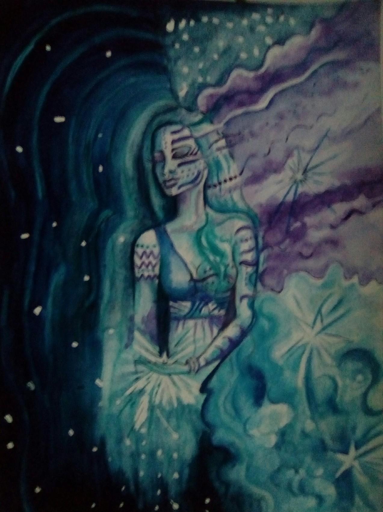 Femme  dans les étoiles