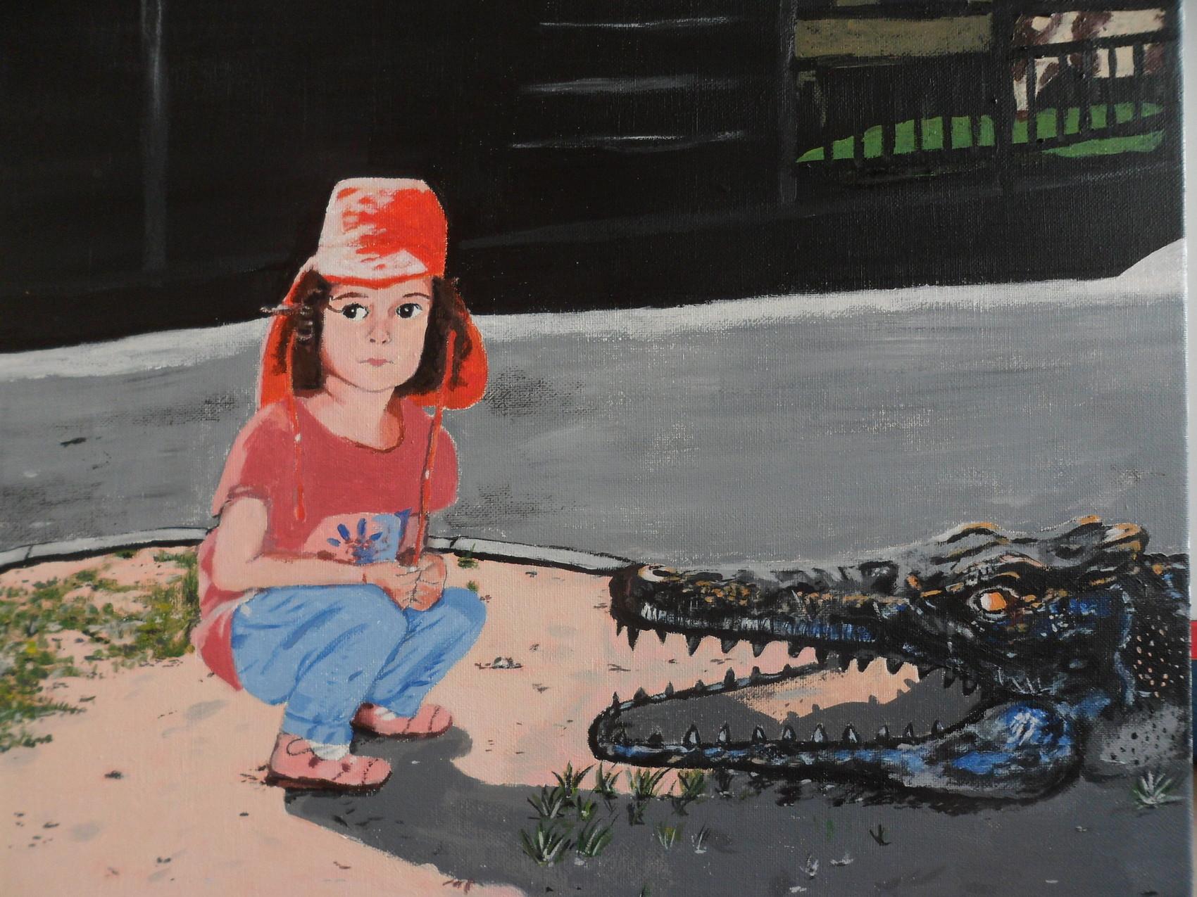 Peinture alligator for Peinture crocodile