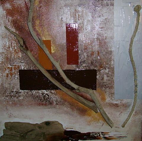 Peinture abstraction en bois flott for Peinture bois flotte