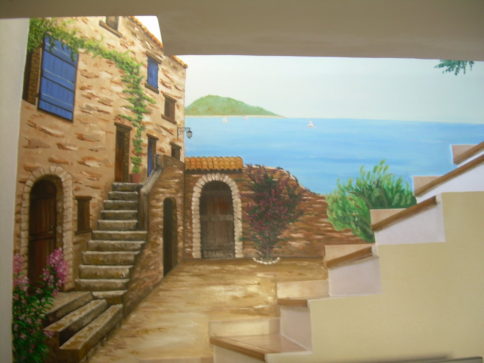 Peinture fresque murale for Peinture argentee murale