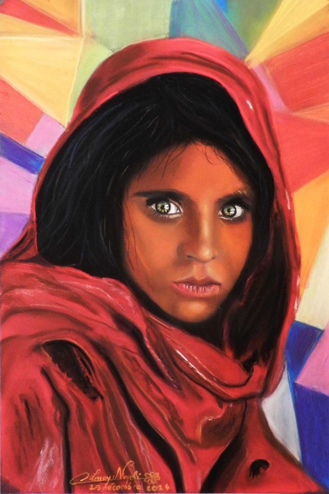 peinture femme afghane aux yeux verts. Black Bedroom Furniture Sets. Home Design Ideas