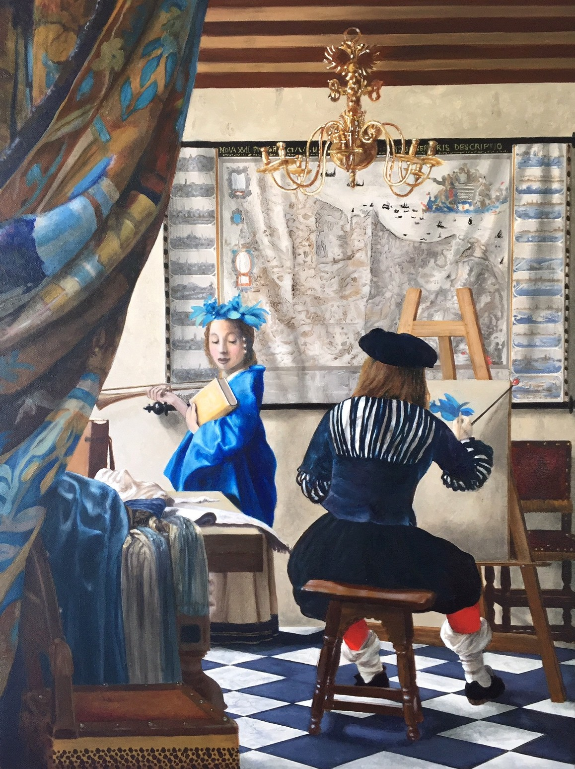"""Peinture """"L'art de la peinture"""" ou """"Allégorie de la peinture"""""""