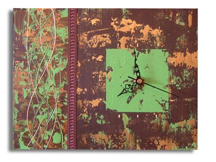 peinture tableau horloge moderne marron vert dor chiaradeco. Black Bedroom Furniture Sets. Home Design Ideas