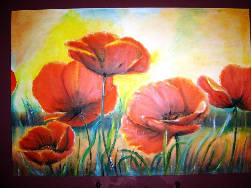 Peinture champs de coquelicots for Tableau de coquelicot en peinture